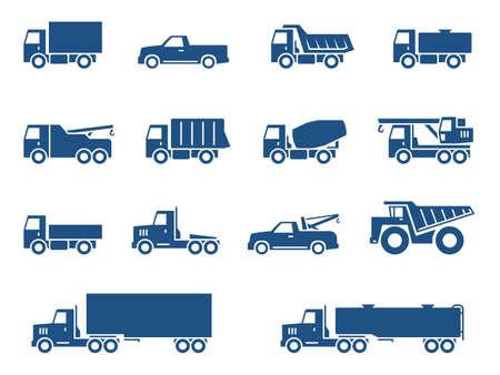 camion grua: Iconos Camiones establecer Vectores