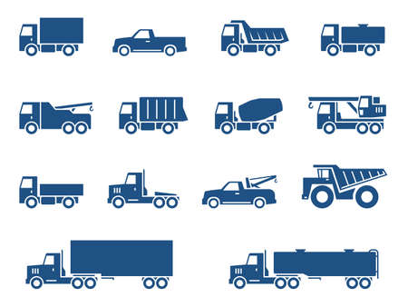 truck tractor: Trucks icons set Illustration