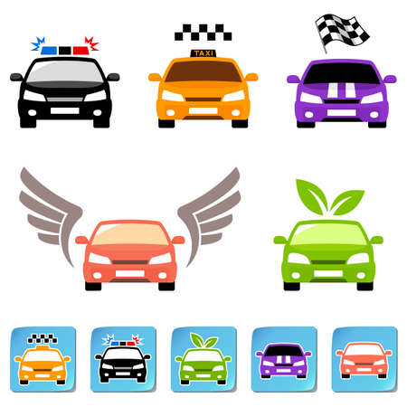 racing wings: Car icon set