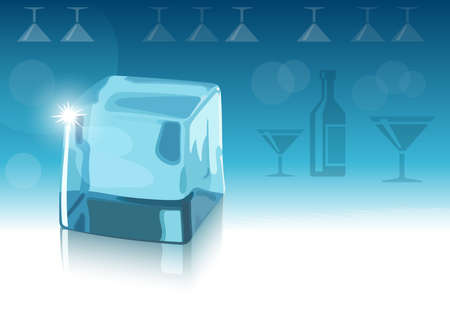 ice cubes: Ice cube and blue background with bottle and glasses silhouettes Illustration