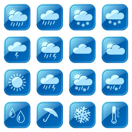 Weather blue icons Vector