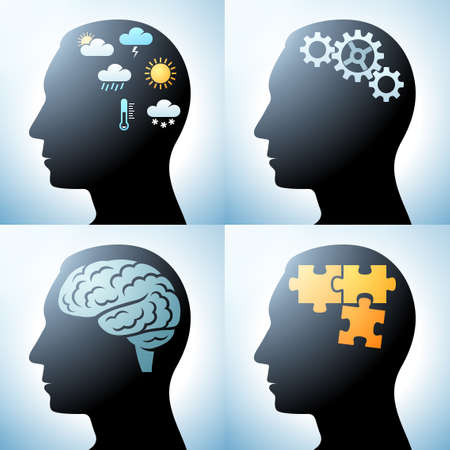 Human head with brain concepts Vector