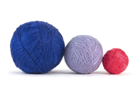 polyester: Balls of yarn isolated on white