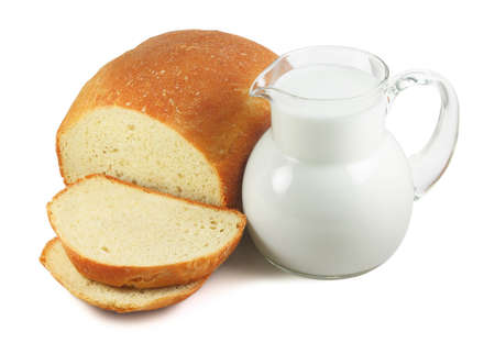 Bread and milk isolated on white