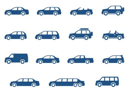 silueta coche: Coches iconos conjunto