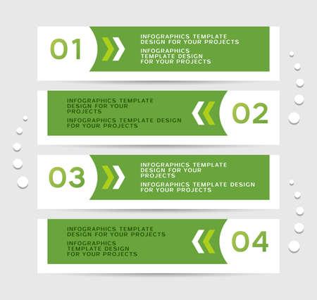 numbered: Infografica design con bandiere verdi numerati Vettoriali