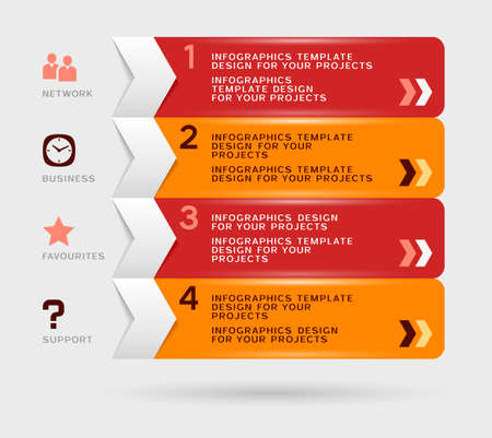 Infographic design with red orange navigation menu Vector