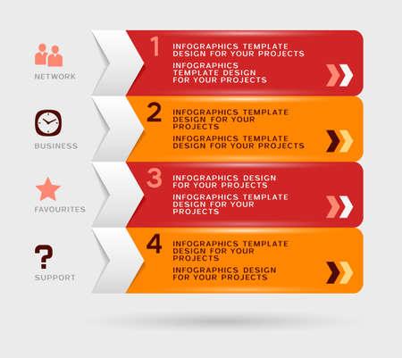 Infographic design with red orange navigation menu