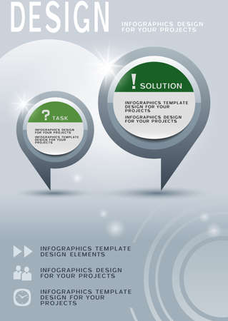 Brochure design with two round infographic elements Vector