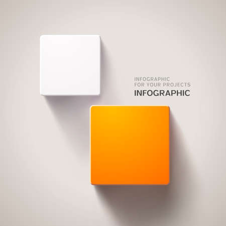 Infographic design with two square elements eps10 Vector