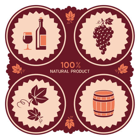 bunch of grapes: Wine label design with grape and barrel icons Illustration