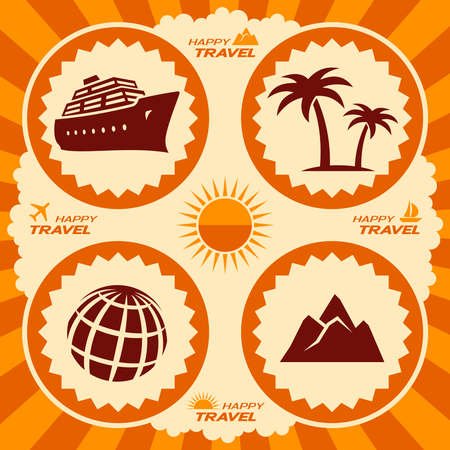 Travel icons in poster design Vector