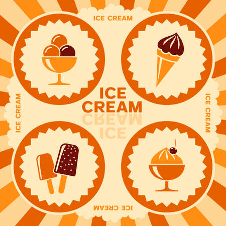 Ice cream label design with color icons Vector