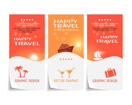 Travel banner, poster, sticker, flyer, ticket design Vector