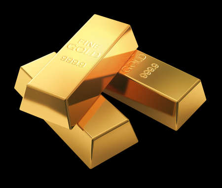 goldbars: Gold bars isolated on black