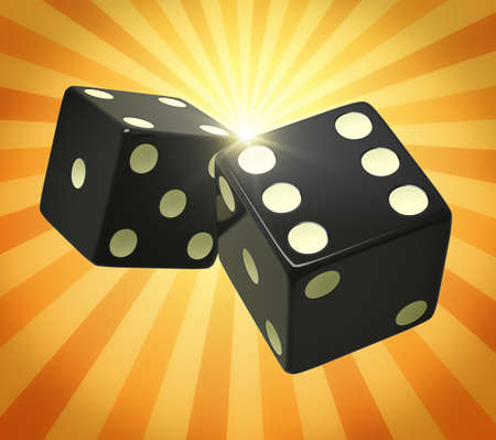 probability: Black dice in yellow orange beams