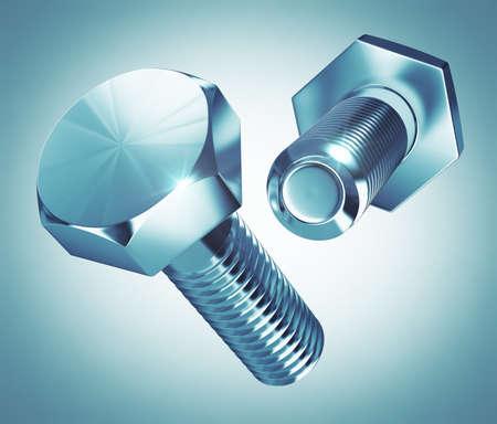 shiny metal: Shiny metal bolts Stock Photo