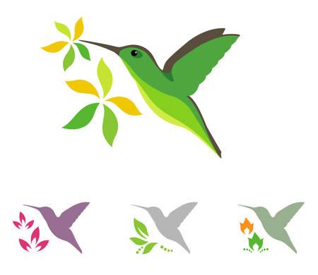 Humming icônes d'oiseaux et de fleurs