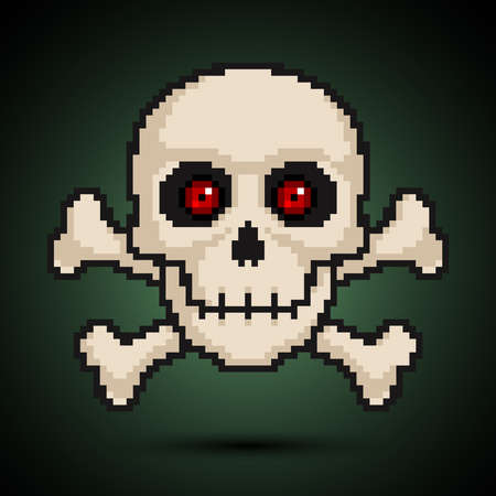 Pixel skull and crossbones 일러스트