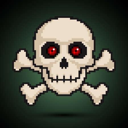 crossbones: Pixel skull and crossbones Illustration