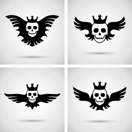 skull with crown: Skull with crown and wings Illustration