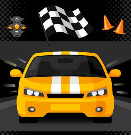 Street racing car with sport checkered flag, traffic light and road cones