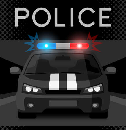 security officer: Police car with flash light Illustration