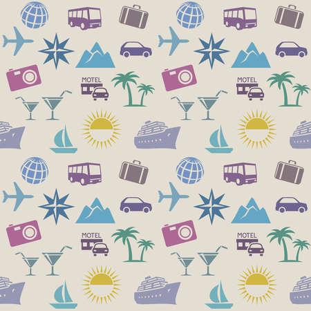 Nahtlose Wallpaper Pattern mit Reise-Ikonen Standard-Bild - 39384389