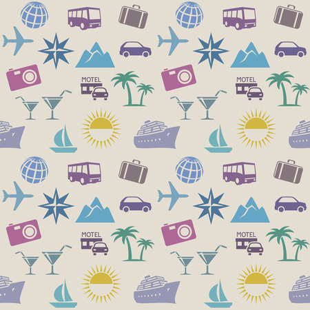 Seamless wallpaper pattern with travel icons Иллюстрация