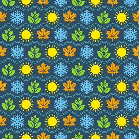 seasonal symbol: Seamless wallpaper pattern with seasons icons