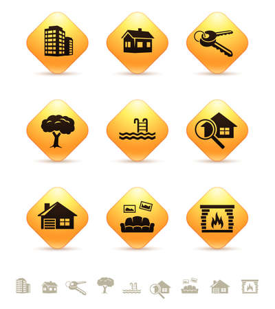 rhombic: Real estate icons on yellow rhombic buttons