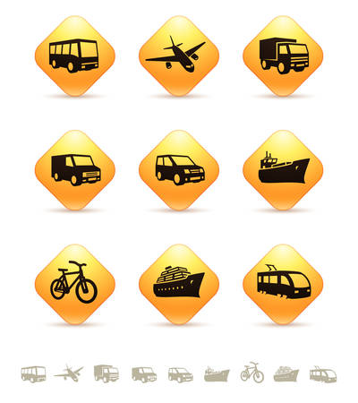 Transportation icons on yellow rhombic buttons Vector