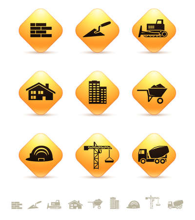 bricklaying: Construction and realty icons on yellow rhombic buttons Illustration