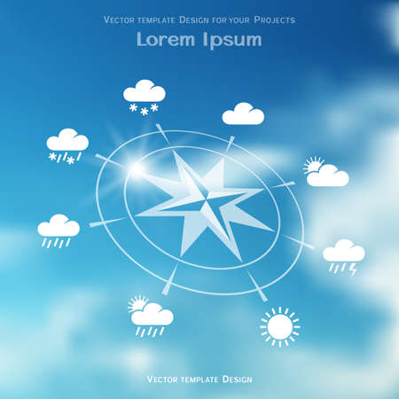 meteo: Wind rose and four seasons weather icons on blue sky blurred background Illustration