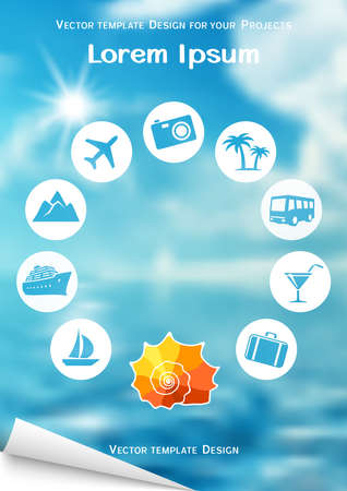 Flyer design with sea shell and travel icons on blurred background