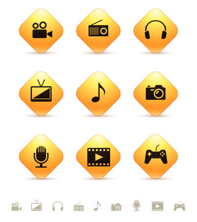 rhombic: Multimedia icons on yellow rhombic buttons Illustration