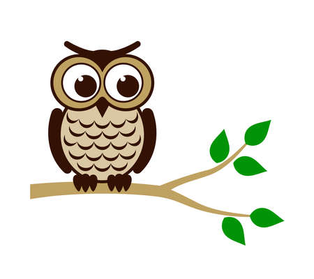 cute animal cartoon: Funny owl sitting on branch Illustration