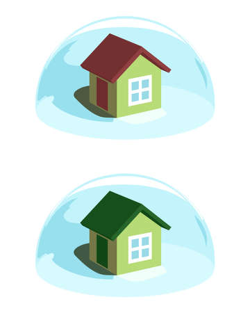 ecological environment: Green house under the blue dome. Ecological concept Illustration