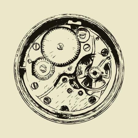 Hand drawn clock mechanism, back side of watch