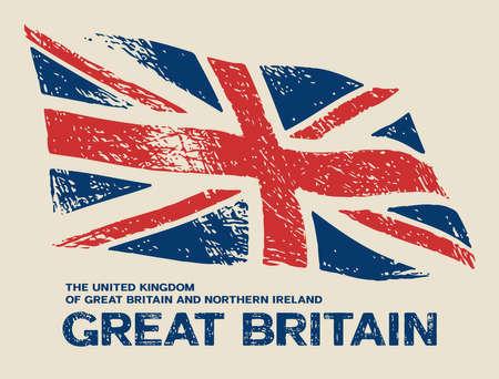 Scratched Great Britain flag. Vector grunge illustration Illustration