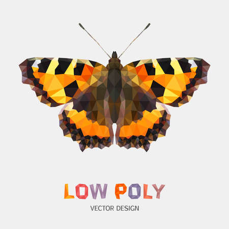 nymphalidae: Low poly design of butterfly. Vector mosaic pattern Illustration