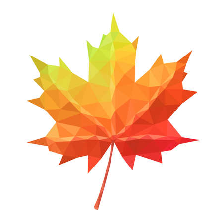 Low poly vector maple leaf geometric pattern Ilustracja