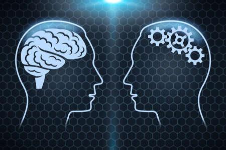 Human head and brain silhouette