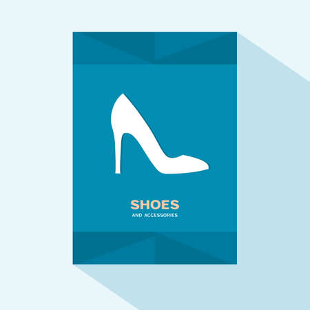 Brochure cover flat design with spike heels shoe icon Illustration