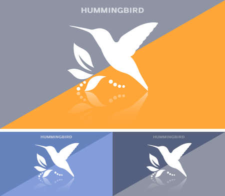 Invitational business card or web banner with humming bird icon