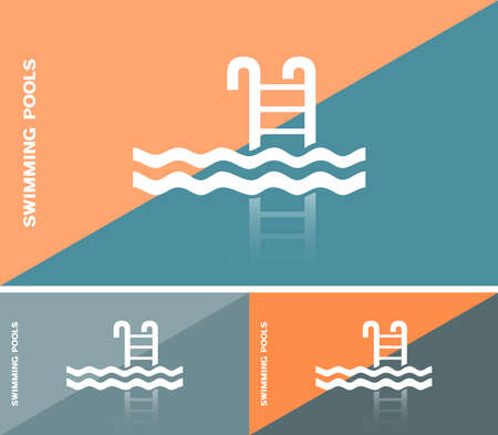 swiming: Business card or web banner with swimming pool icon Illustration