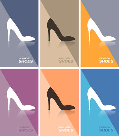 27b93c1e5a Price tag or web banner or business card with spike heels shoe Illustration