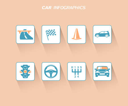 racing sign: Car infographics design with flat icons Illustration