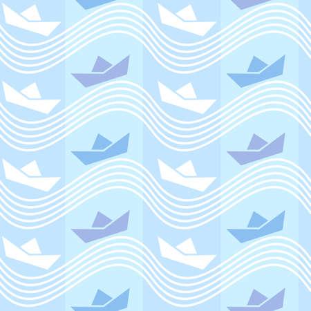 Naadloos behangpatroon met de pictogrammen van de origamiboot