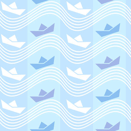Seamless wallpaper pattern with origami boat icons